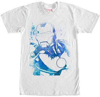 Marvel Men's Tee Shirts WHITE - White Watercolor Iron Man Tee - Men