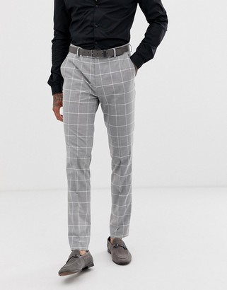 Avail London skinny fit suit trousers in light grey windowpane check