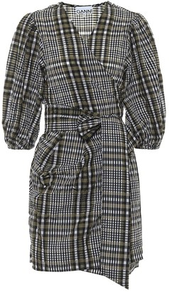 Ganni Checked seersucker wrap dress