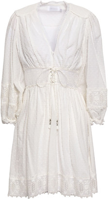 Zimmermann Lace-trimmed Broderie Anglaise And Fil Coupe Cotton Mini Dress