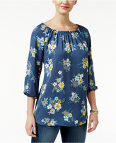 Style&Co. Style & Co. Floral-Print Scoop-Neck Top, Only at Macy's