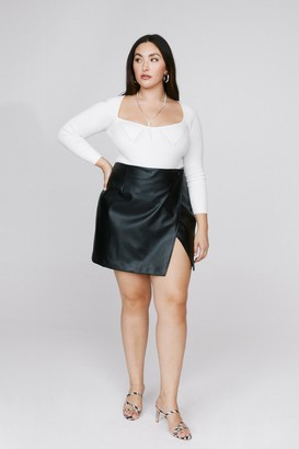 Nasty Gal Womens Take the Lead Faux Leather Plus Skirt - Black - 16