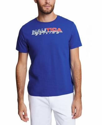 Nautica Men's Short Sleeve Crew Neck Sail 100% Cotton T-Shirt Bright Blue XX-Large
