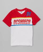 DC Red & White Throwback 'DCSHOECO' V-Neck Tee - Boys