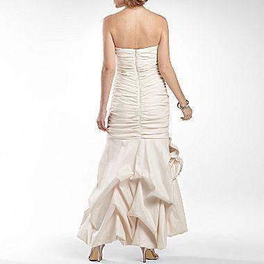 JCPenney Lilyanna Ruched Taffeta Strapless Dress w/ Rosette