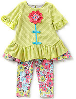 Rare Editions Baby Girls 12-24 Months Asymmetrical-Stripe Large Flower Applique Top and Floral-Print Leggings Set