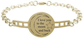 Fully Adjustable Inspirational Link Bracelet by Pink Box I love you to the moon and back Gold