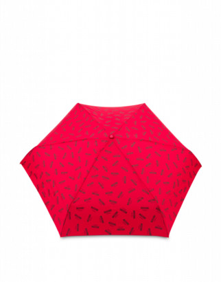 Moschino Mini Umbrella With All Over Logo Woman Red Size Single Size