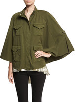 Haute Hippie Promise Me Twill Poncho, Olive