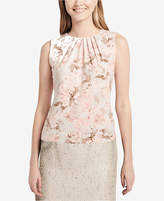 Calvin Klein Printed Pleat-Neck Shell