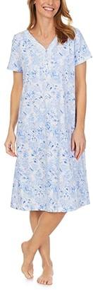 Carole Hochman Soft Jersey Cap Sleeve Waltz Gown (Blue Stripe Floral) Women's Pajama