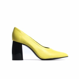 L'Intervalle LIntervalle Women's Adelaide Yellow Leather Uniform Dress Shoe