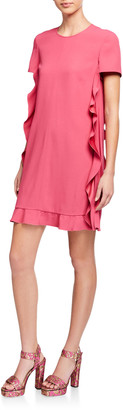 RED Valentino Short-Sleeve Pleated Satin Ruffle Side Dress