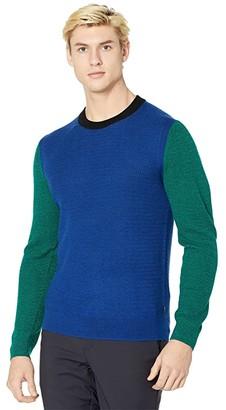 Paul Smith Crew Neck Color-Block Sweater (Blue) Men's Clothing