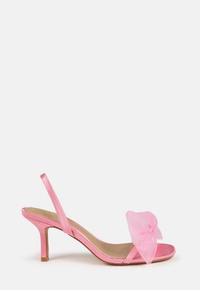 Missguided Pink Mid Heel Bow Sling Back Sandals