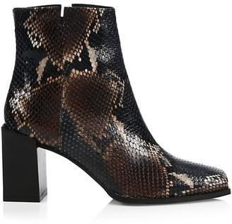 Aquatalia Emilee Snakeskin-Embossed Leather Ankle Boots
