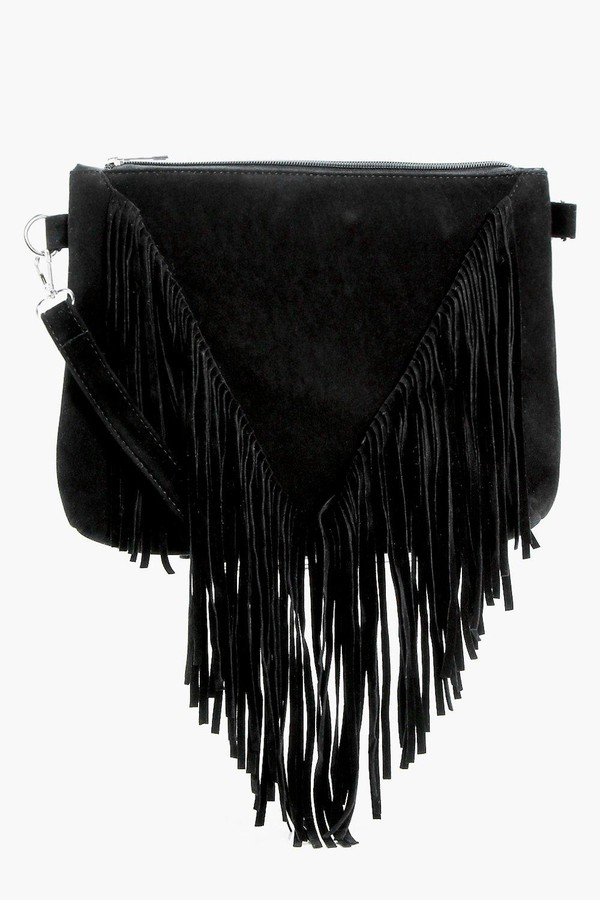boohoo Suedette Fringed Cross Body