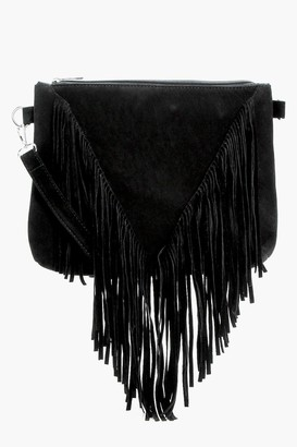 boohoo Suedette Fringed Cross Body Bag