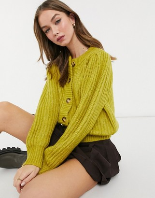 Topshop oversized cardigan in olive