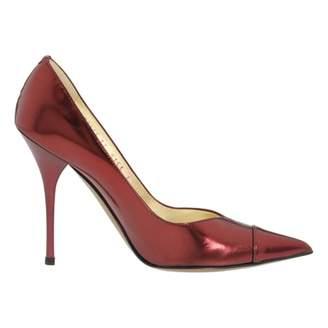 Roberto Cavalli Burgundy Leather Heels