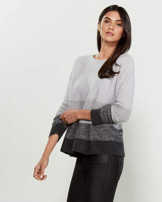 Ply Cashmere Boatneck Marled Stripe Cashmere Sweater