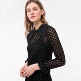 Paul Smith Women's Black Dress With Flocked Polka Dots