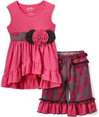 Lulu Ruffles by Tutu and Girls' Casual Dresses - Fuchsia Ruffle-Trim Hi-Low Tunic & Floral Shorts - Toddler