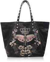 RED Valentino Black Printed Leather Tote Bag w/Studs