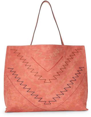 Street Level Burnt Orange & Tan Stitched Reversible Shoulder Bag