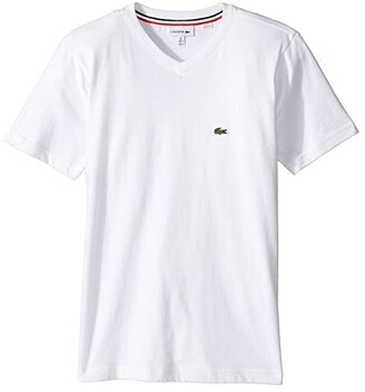Lacoste Kids Short Sleeve Solid V-Neck T-Shirt (Toddler/Little Kids/Big Kids) (White) Boy's T Shirt