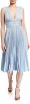 Badgley Mischka Deep V-Neck Sleeveless Pleated Midi Dress