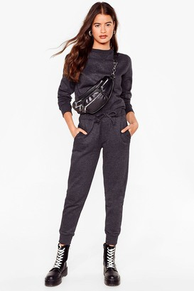 Nasty Gal Womens Jogger and Sweat Set - Charcoal