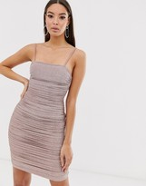 The Girlcode glitter lurex ruched mini dress in bronze