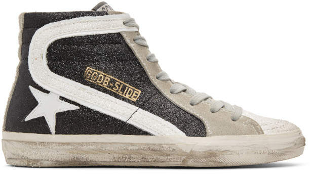 Golden Goose Black Glitter Slide High-Top Sneakers