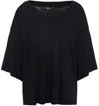 7 For All Mankind Studded Stretch-jersey Blouse