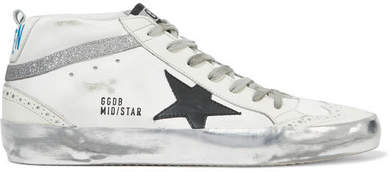 Golden Goose Mid Star Glittered Distressed Leather Sneakers - White