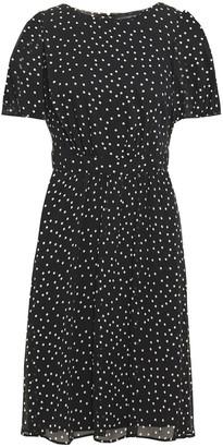 DKNY Gathered Polka-dot Crepon Dress
