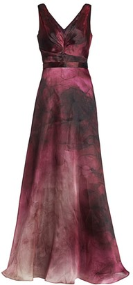Marchesa Ruched Sleeveless Satin Ball Gown