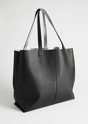 And other stories Reversible Metallic Leather Tote Bag