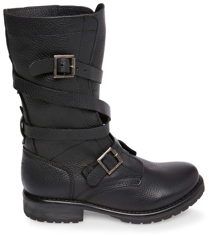 steve madden white buckle boots