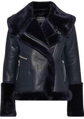 Walter Baker Edaurdo Leather And Faux Fur Coat