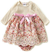 Bonnie Jean Bonnie Baby Baby Girls 12-24 Months Striped Knit to Floral Embroidered Dress