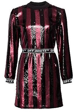 Off-White Women's Stripes Sequin Dress