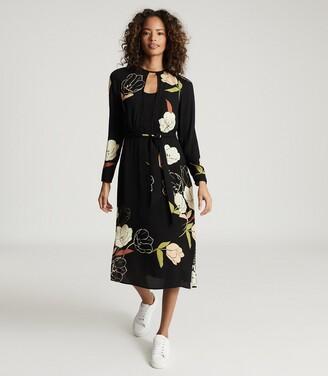 Reiss Arley - Floral Printed Midi Dress in Black