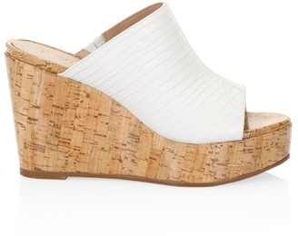 Stuart Weitzman Margarite Croc-Embossed Leather Cork Wedge Mules