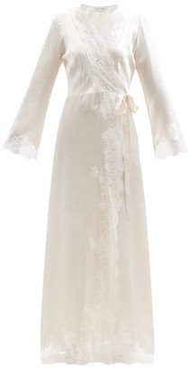 Carine Gilson Skyfall Lace-trimmed Silk-satin Robe - Ivory