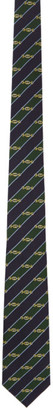 Gucci Green and Navy Silk Interlocking G Horsebit Tie
