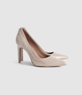 Reiss MADDY SNAKE DETAILED LEATHER COURT SHOES Truffle