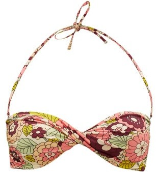 Dodo Bar Or Kayla Floral-print Twisted Bandeau Bikini Top - Pink Print