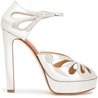 Francesco Russo Cutout Mirrored-leather Sandals